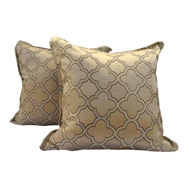 Ultra Modern Pillows : Traditional Trellis Ultra Sheen Gold Pillows - a Pair Chairish