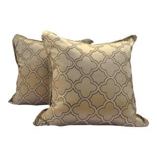Traditional Trellis Ultra Sheen Gold Pillows - a Pair