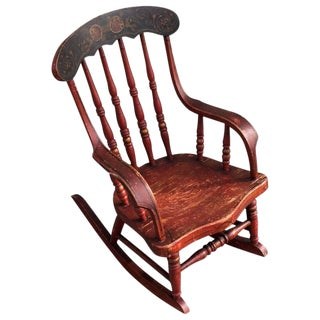 19th Century Original Red Paint Decorated Child's Rocking Chair