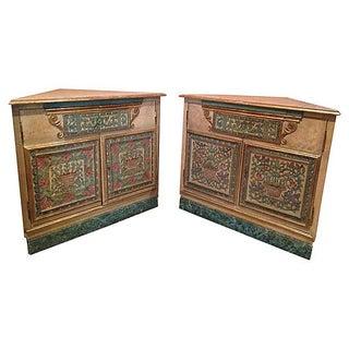 Turquoise Italian Corner Cabinets - Pair