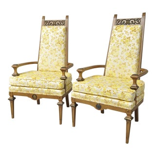 French Hollywood Regency Italian High Back Gold Fireside Lounge Chairs - A Pair
