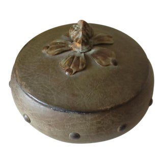 Studded Leather Wrapped Round Box