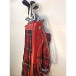Image of Vintage 1960s Red Tartan Spalding Golf Bag & Clubs