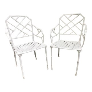 Garden Iron Faux Bamboo Side Chairs - Pair