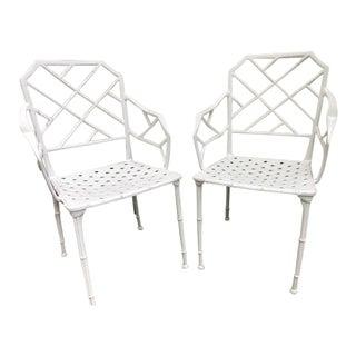 Brown Jordan Faux Bamboo Side Chairs - Pair