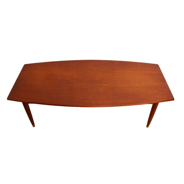 Swedish Teak Curved Coffee Table with Storage - Image 1 of 7