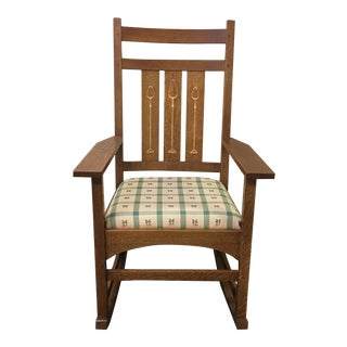 Arts and Crafts Stickley Rocker with Inlaid Slats