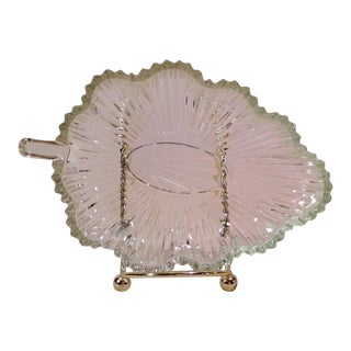 Arts Deco Glass Leaf Dishes - A Pair