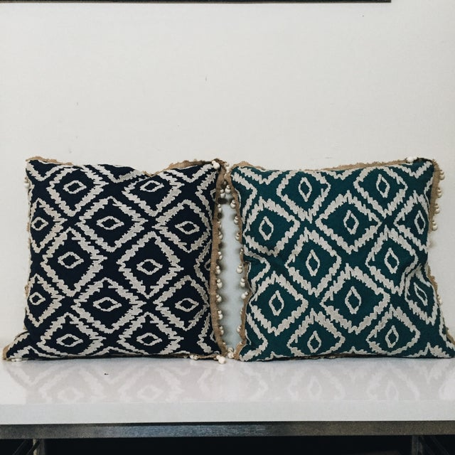 Blue Tribal Pillows - A Pair - Image 2 of 6
