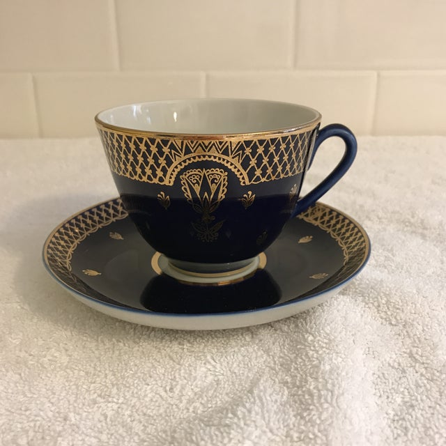 Vintage Russian Lomonosov Cobalt Blue & Gold Tea Cup - Image 2 of 10