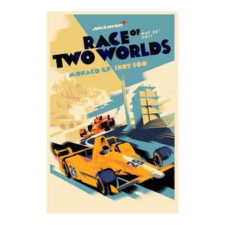 Danish Modern Car Racing Poster, Race of Two Worlds