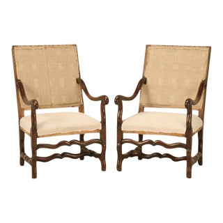 Antique French Os De Mouton Solid Oak Throne Chairs - A Pair