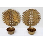 Image of Brass Palm Frond Wall Candle Sconces - A Pair
