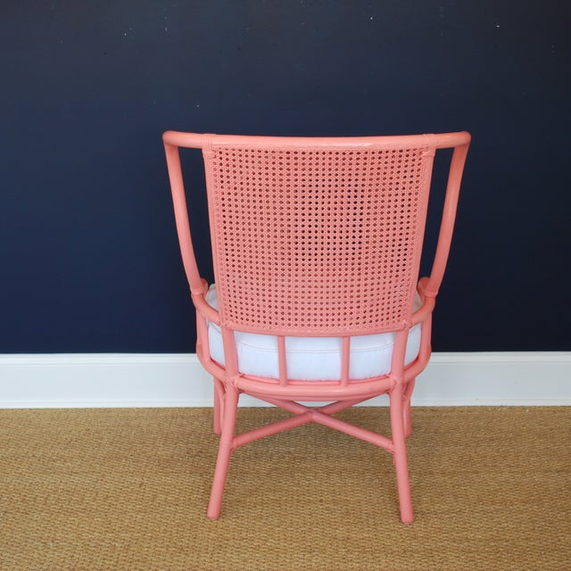 Pink Vintage Rattan And Cane Wing Chair Chairish