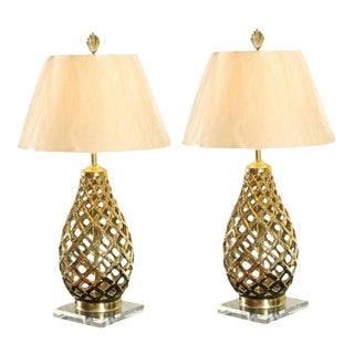 Lovely Restored Pair of Pierced Ceramic, Brass and Lucite Lamps