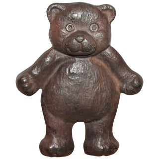 Early 20th Century Teddy Bear Iron Door Stop