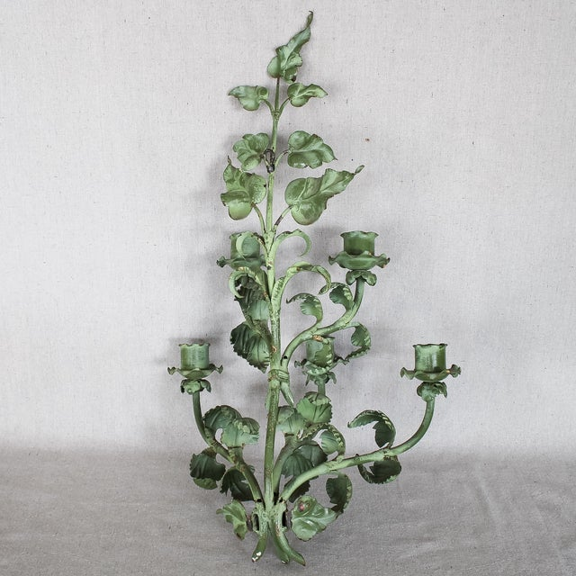 Image of Italian Baroque Green Gilt Candelabra/Wall Sconce