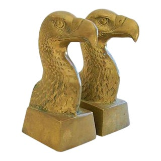 Patriotic 1960s Brass Bald Eagle Bookends - A Pair