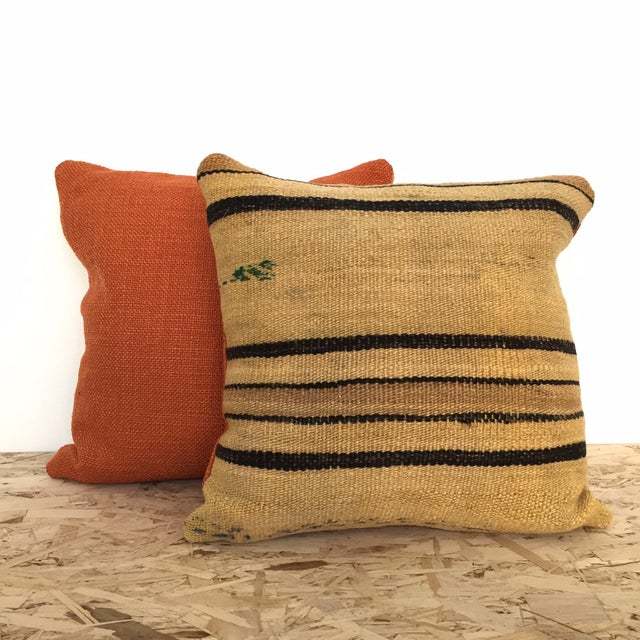 Vintage Hemp & Wool Striped Kilim Pillow - Image 4 of 5
