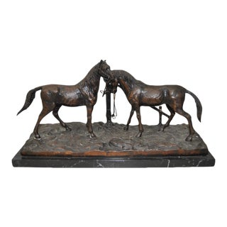 Bronze Horse Sculpture After P.J. Mene