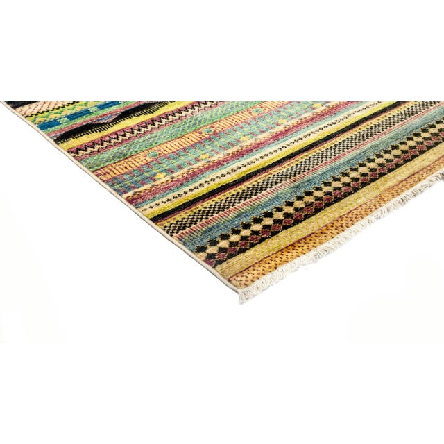 """Image of New Hand-Knotted Striped Tribal Rug - 8'1"""" X 8'2"""""""