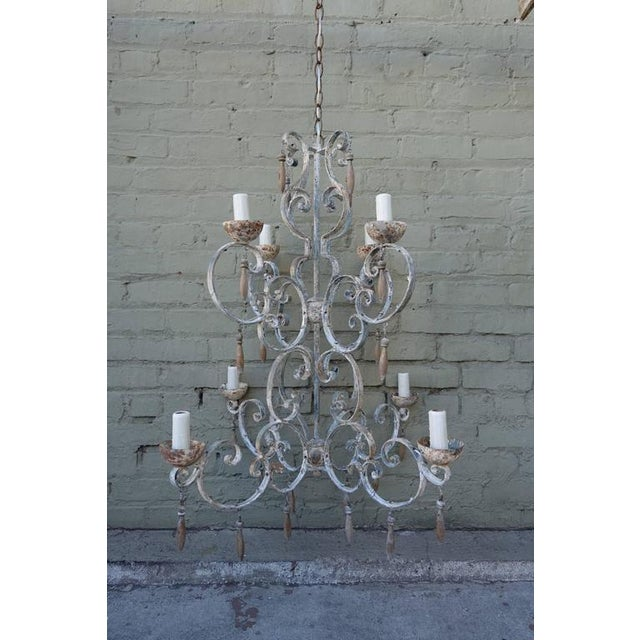 8-Light Painted Italian Chandelier with Drops - Image 2 of 7