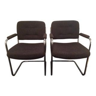 Mid-Century Chrome & Fabric Arm Chairs - A Pair