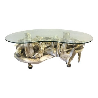 1970's White & Gold Driftwood Table With Glass Top