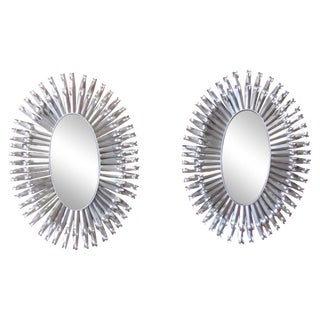 Deco-Style Chrome Metal Wall Mirrors - A Pair