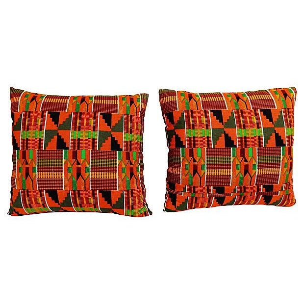 Kente Cloth Pillows, Pair - Image 4 of 5