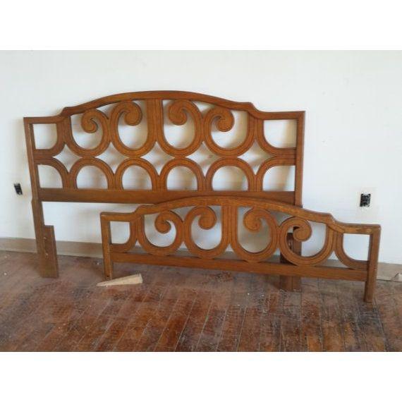 Mid-Century Wood Scroll Bedframe - Image 5 of 6
