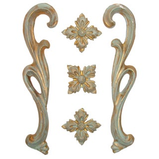 Vintage Italian Gilt Plaster Accents - Set of 5