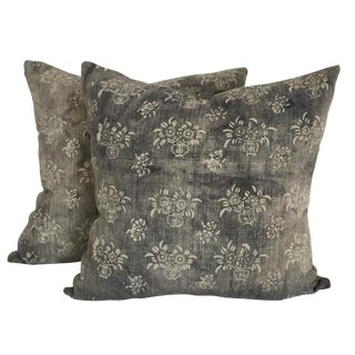 Gray Batik Floral Pillows - A Pair