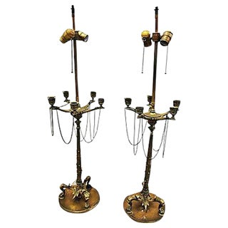 Vintage Neo-Classical Candelabra Lamps - A Pair