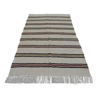 Vintage Natural Turkish Cotton Stripe Kilim Rug - 4′7″ × 7′9″