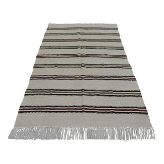 Vintage Natural Turkish Cotton Stripe Kilim Rug - 4′7″ × 7′9″