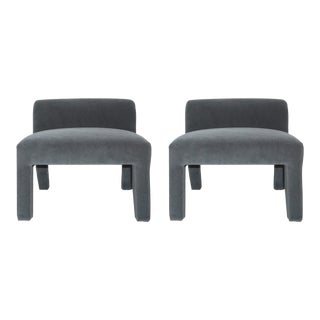 Gray Mohair Elbow Chairs - A Pair
