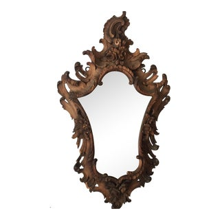 Antique French Rococo Wooden Beveled Mirror