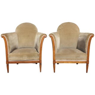 Maurice Jallot French Art Deco Club Chairs - Pair