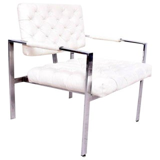 Milo Baughman for Thayer Coggin Chrome & Tufted Naugahyde Armchair