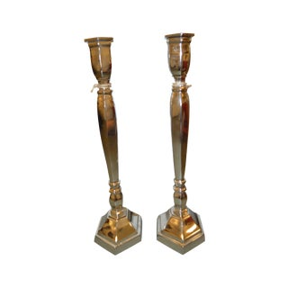Chrome Candlestick Holders - Pair