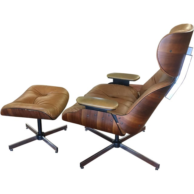 Selig eames style chair ottoman chairish - Selig eames chair ...