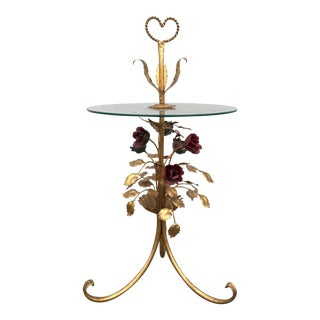 Vintage Gilt Metal Flower Table