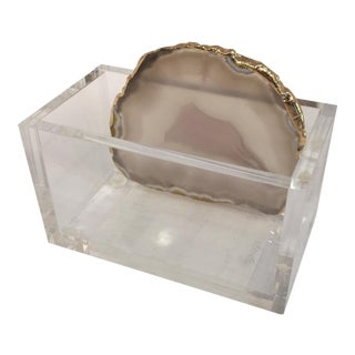 Lucite and Agate Business Card Holder