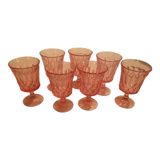 Pink Vintage Glass Goblets - Set of 7