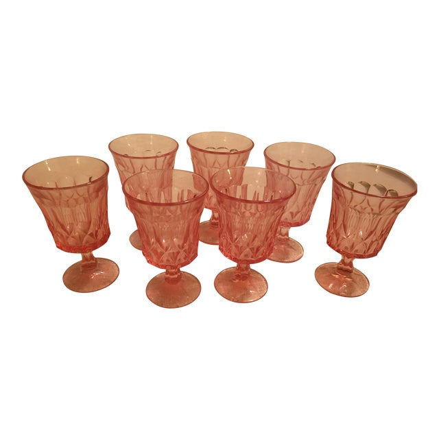 Image of Pink Vintage Glass Goblets - Set of 7