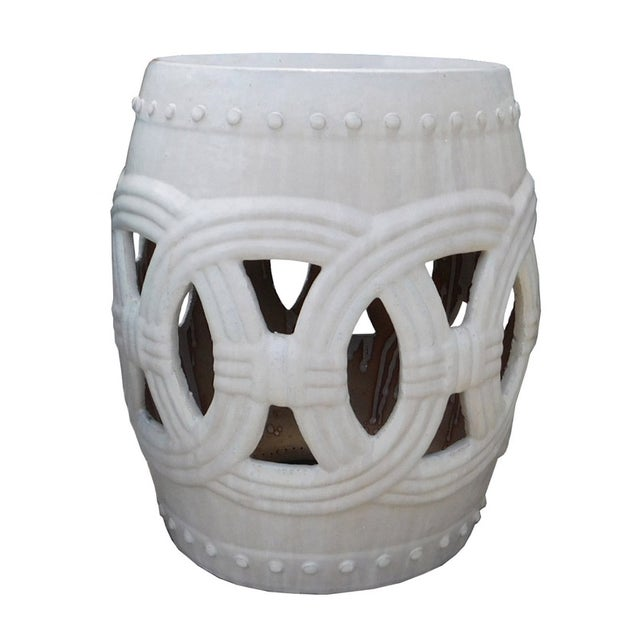 Round Ceramic Garden Stool with White Coin Pattern - Image 1 of 5