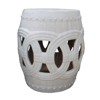 Round Ceramic Garden Stool with White Coin Pattern