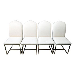 Upholstered Brass Dining Chairs - Set of 4