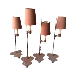 Set of Small Italian Antique Iron Lamps - 4